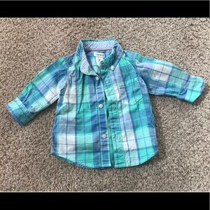 Blue and green button down shirt
